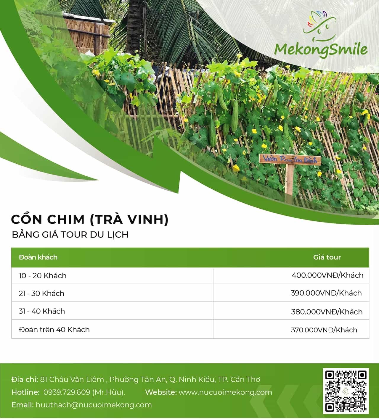 Bảng giá tour Trà Vinh Cồn Chim 1 ngày