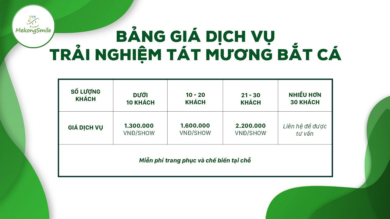 Bảng giá dịch vụ trải nghiệm tát mương bắt cá tại Cồn Sơn