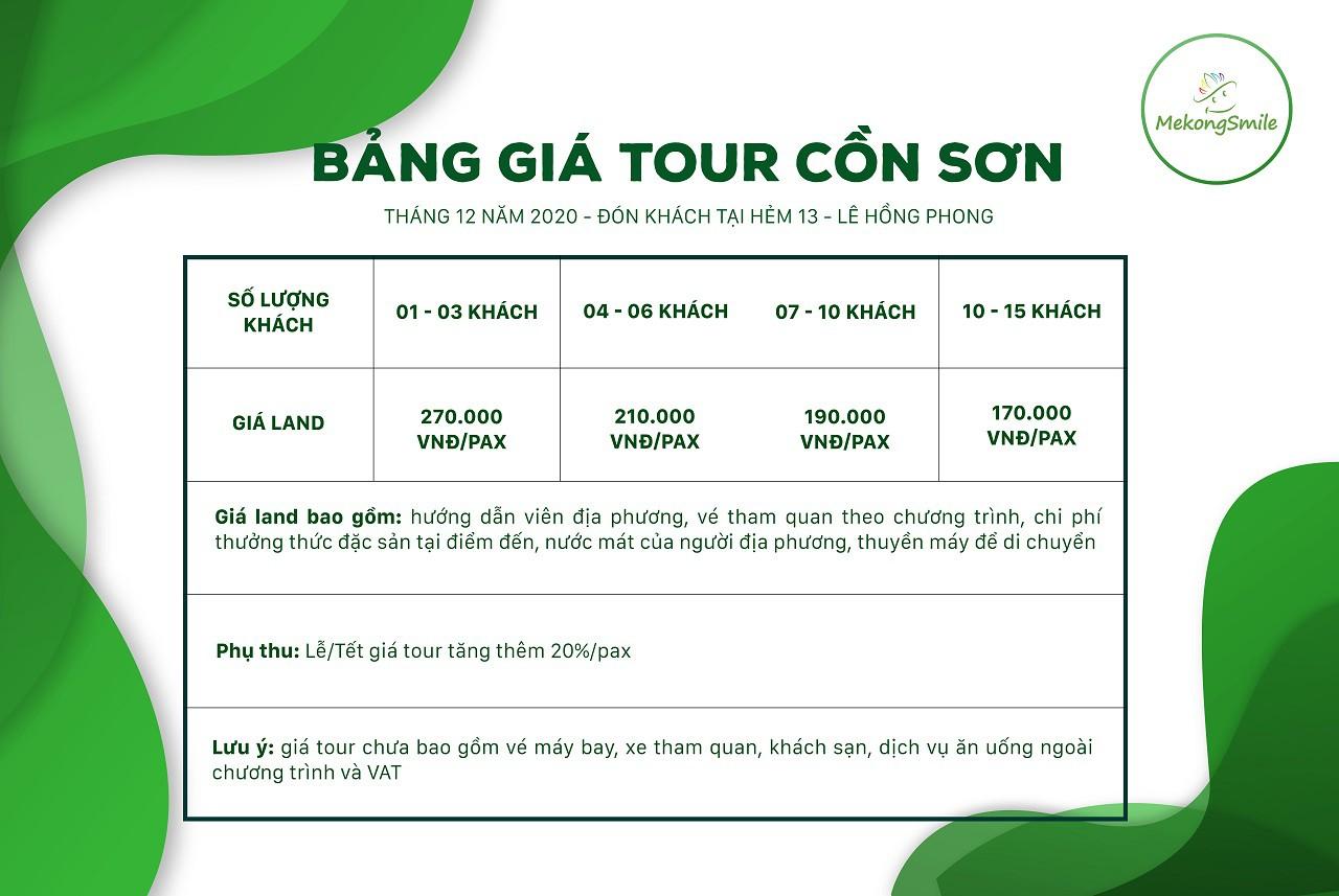 Bảng giá tour Cồn Sơn theo từng nhóm khách