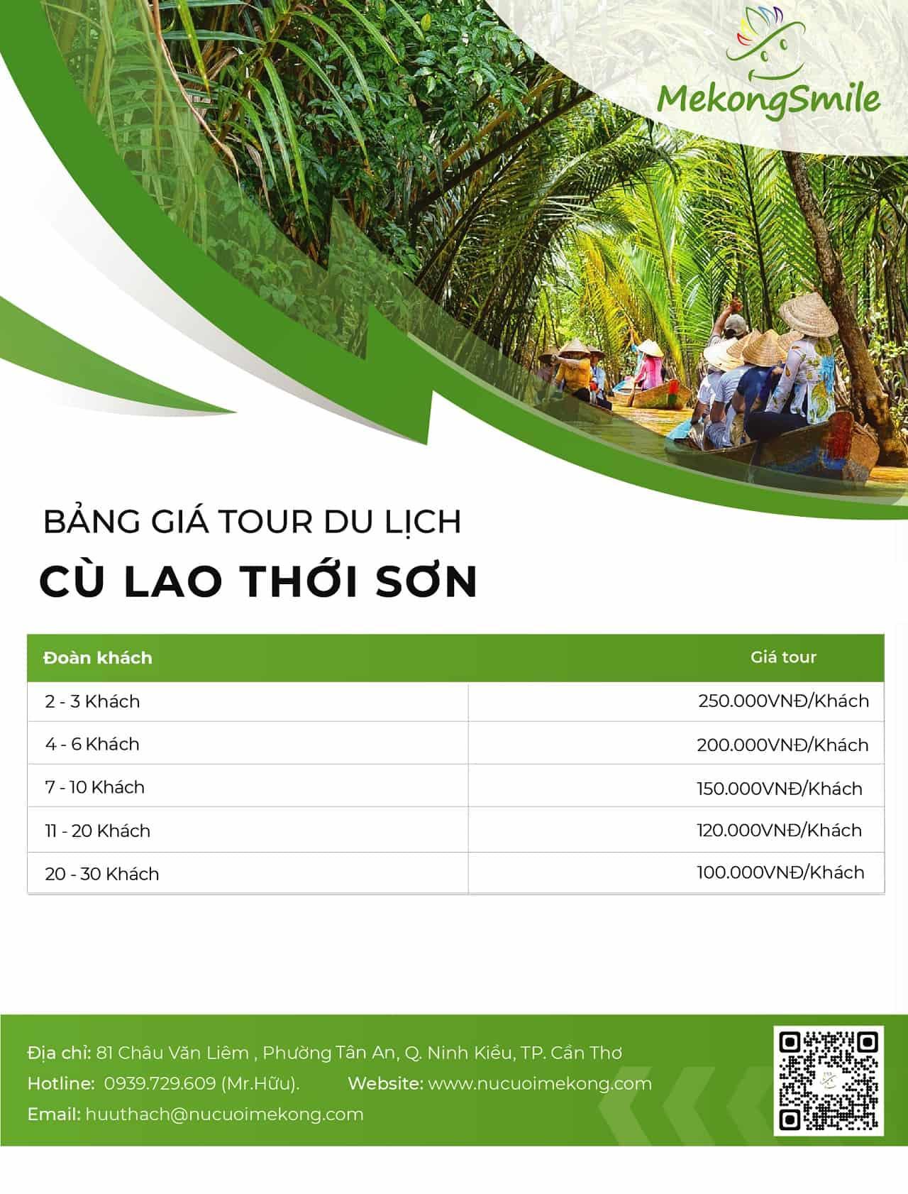 Bảng giá tour du lịch Cồn Thới Sơn