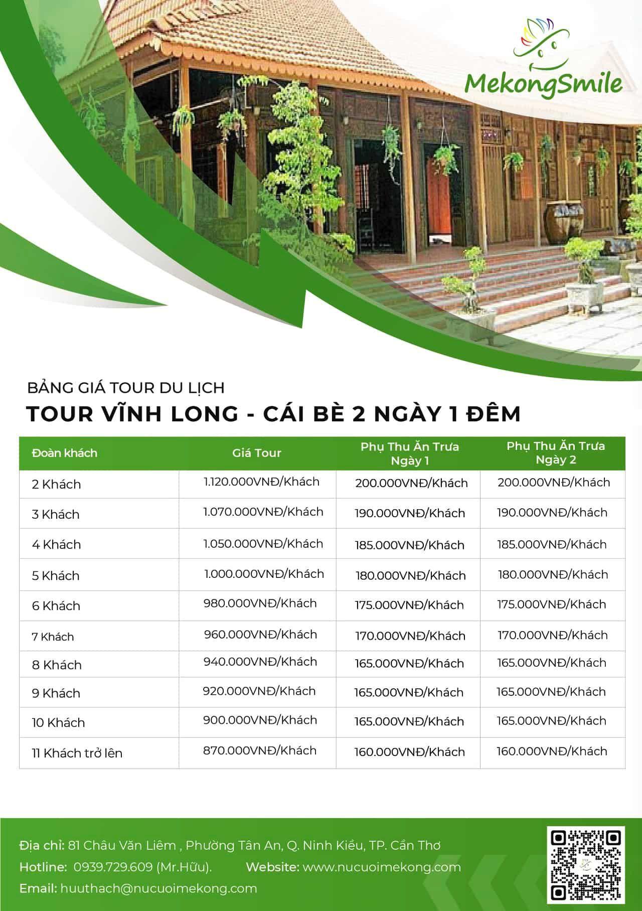 Bảng giá tour Vĩnh Long Cái Bè 2 ngày 1 đêm