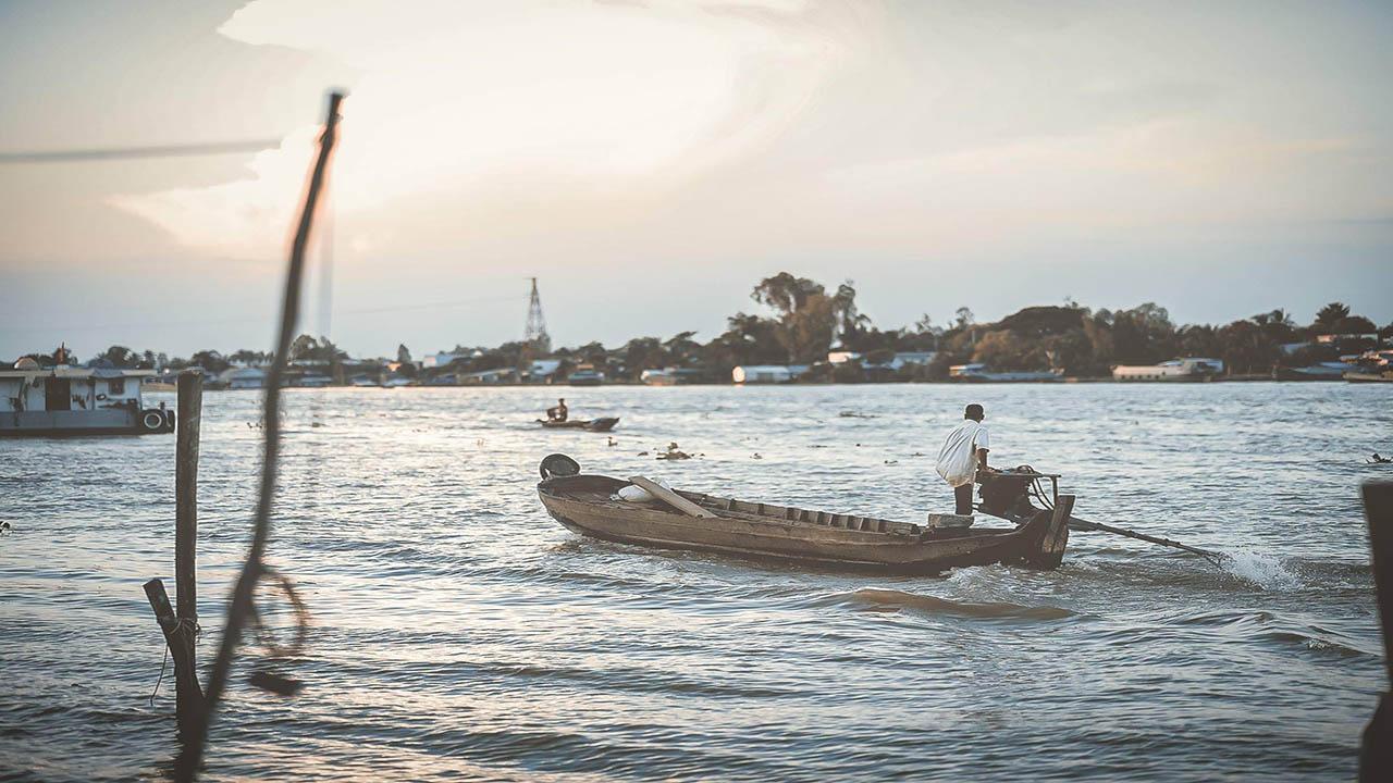 Cù lao Tân Lộc tọa lạc giữa dòng sông Hậu