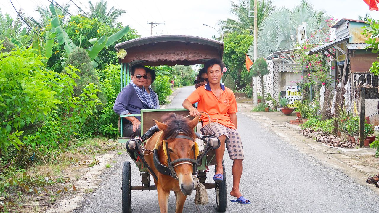 Du khách trải nghiệm đi xe ngựa trên đường làng