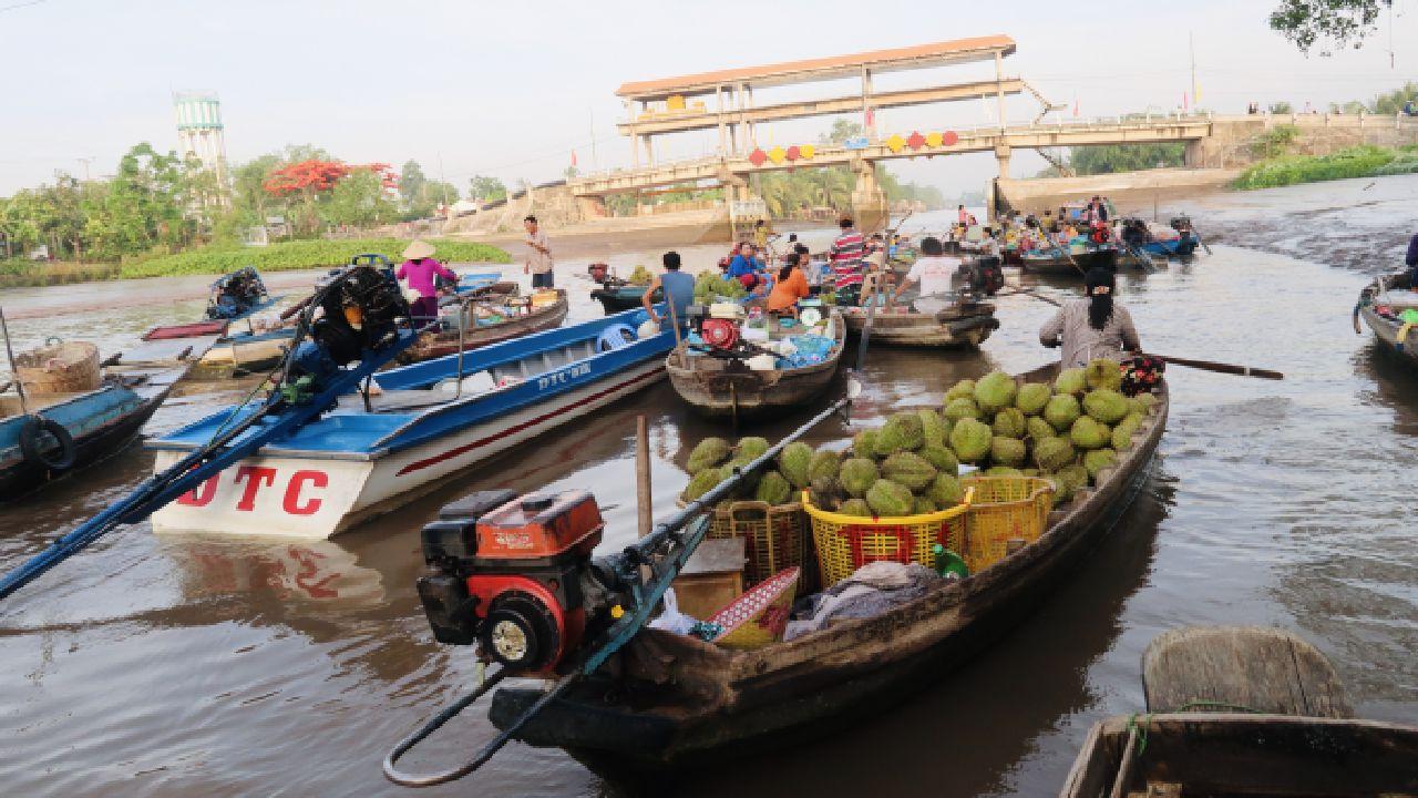 Nhiều ghe bán trái cây tại chợ nổi